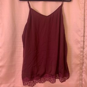 Maroon lacy tank top